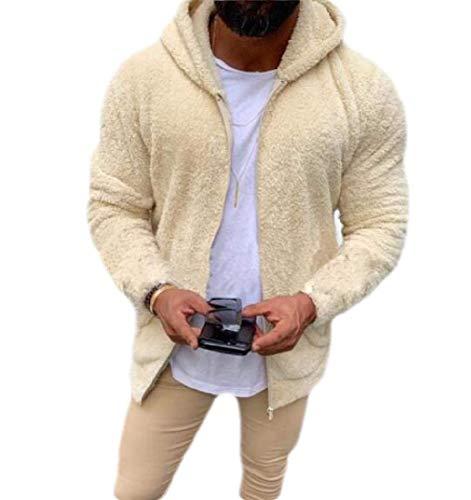 GRMO Men Fuzzy Zip Up Winter Long Sleeve Sherpa Hoodies Sweatshirt Outwear Apricot US M