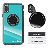Ztylus Gloss Teal Revolver M Series Camera Kit: 6 in 1 Lens with Case for iPhone X/XS - 2x Telephoto Lens, Macro, Super Macro Lens, Wide Angle Lens (Gloss Teal)