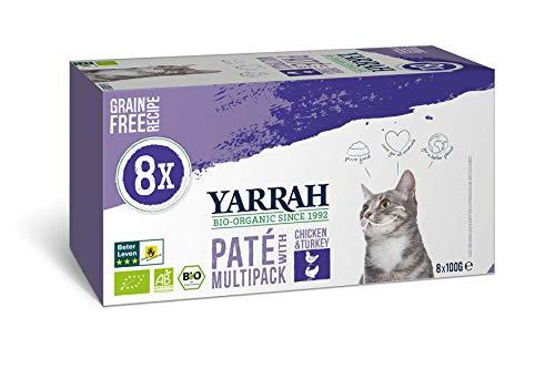 Yarrah Alimento Seco Biológico para Gatos Multipack Paté - 8 x 100gr - Pollo y Pavo - sin Cereales