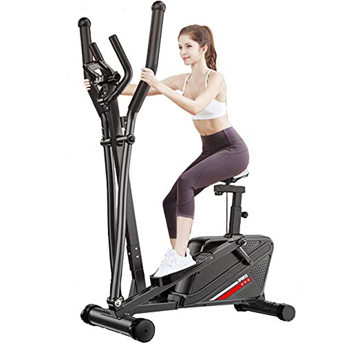 Magnetic Elliptical Trainer, 2 in 1 Elliptical Training Machine and Exercise Bike for Home Gym Office Workout with 8 Level Adjustable Magnetic Resistance/LCD Monitor/Seat/Tablet Holder (Black)