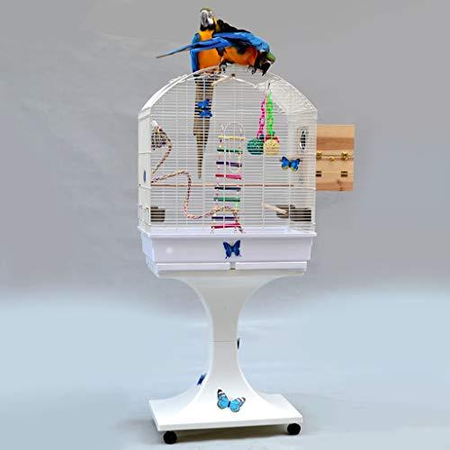 Jaula de viaje portátil para mascotas Bird Cage Jaula del loro grande Periquito Periquito jaula del loro del Cockatiel Pequeño viaje jaula de metal jaula de pájaros de jaula de cría con la rueda Bolsa