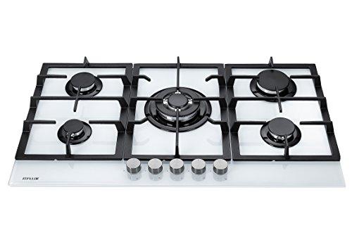 Millar GH9051TW Plaque de cuisson en Verre trempé avec 5 brûleurs à gaz Blanc 90 cm/Table de Cuisson