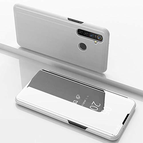 SHIEID Hülle Oppo Realme 5 Pro Schutzhülle Smart Spiegelüberzug Sleep Flip Leder Case Streamer Spiegel Schutzhülle Handyhülle für Oppo Realme 5 Pro(Silber)