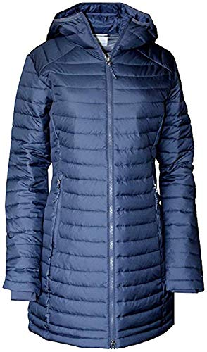 Columbia Women's White Out Mid Omni Heat Long Hooded Light Jacket Coat Puffer Plus/Regular (Nocturnal, M)
