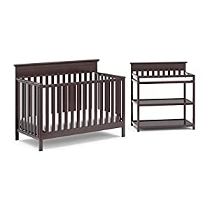 Crib and Change Table Nursery Furniture Set in A Box by Storkcraft – The Windard Set Includes a 4 in 1 Convertible Crib & Changing Table with Water-Resistant Change Pad, Espresso