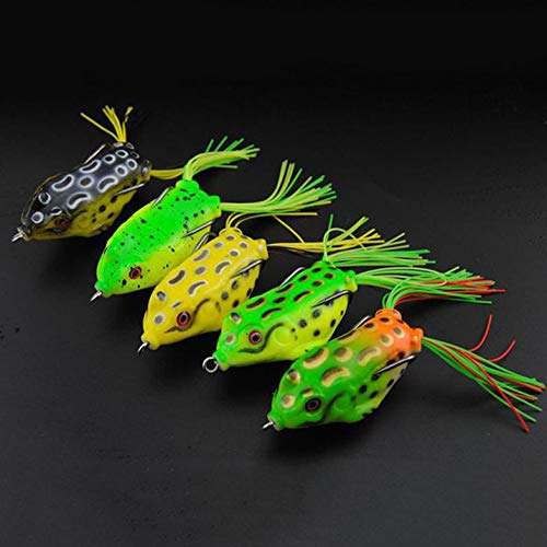 5x Topwater Frog Fishing Lockt Lebensechte 3D Augen Für Bass Pike Snakehead