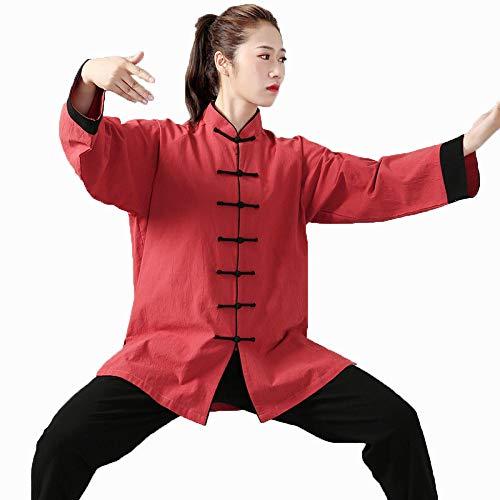 llh Tai Chi Anzug Uniform Kleidung Kampfsport Training Skleidung Wing Chun Kung Fu Hose Qi Gong Chinesische Tang Langärmelige Damen Herren Natürliche Baumwolle,Red-S