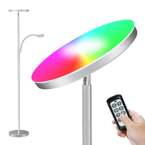 RGB Stehlampe LED Dimmbar 2000lm Deckenfluter mit 400lm Leselampe, Stehleuchte mit Fernbedienung&Touch Control, Standleuchte mit 3 Farbtemperatur+7 RGB+5 Helligkeitsstufen für Wohnzimmer Schlafzimmer