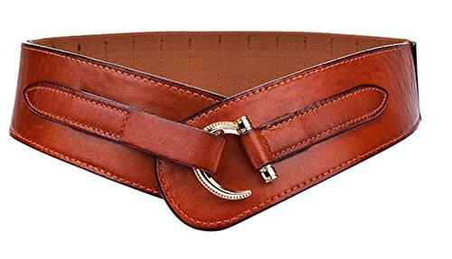 Lumanuby. Cinturones de Mujer Cuero de Imitación Elástico Ancho Tejiendo