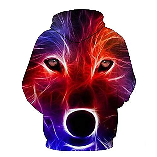 yyqx container Pulls Hoodies d'impression 3D Multicolor Wolf Print Outdoor Couples Sweatshirts with Kangaroo Pocket-M