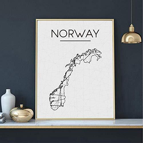 Suuyar Zwart Wit Abstract Geometrisch Noorwegen Kaart Prints Wall Art Schilderij Canvas Poster Nordic Decoratieve Foto Noorwegen Home Decor-60x80cm geen frame