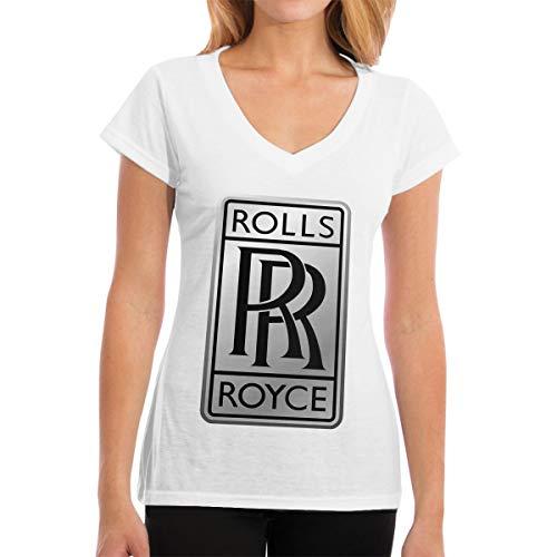 Runxin Designed T Shirt Rolls Royce Logo Fashion T Shirts Short Sleeve for Womens White XL