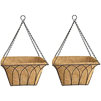 Garden King 14 Inch Big Square Hanging Basket Black (Set of 2) Hanging Coir Plant Container with Eco Friendly Liner