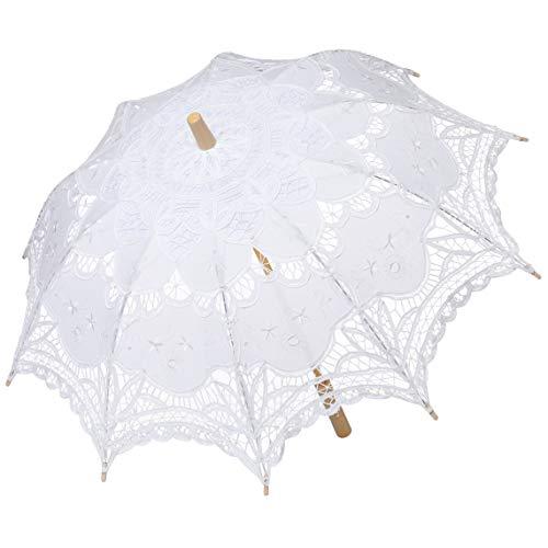 Coucoland Spitzenschirm Braut Brautjungfer Vintage Hochzeitsschirm Spitzen Deko Sonnenschirm Fotografie Prop Lace Umbrella Damen Fasching Kostüm Accessoires (Weiß)
