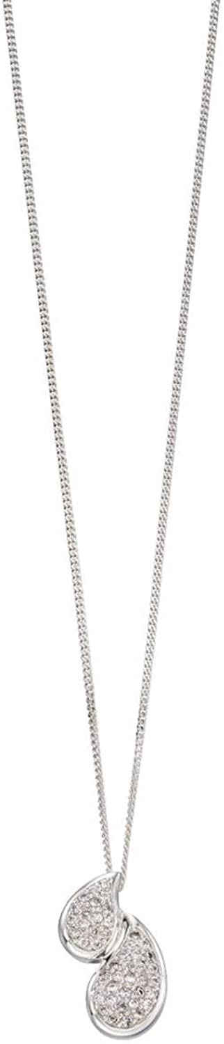 Elements Silver Womens Double Pave Teardrop Pendant  Silver Clear