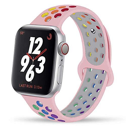 Voshion Pride Edition Correa para Apple Watch Band 44 mm 40mm 42mm 38mm silicona banda para iwatch pulsera para iwatch series 5 4 3 2 1 SE 6 (42 44mm ML, orgullo rosa)