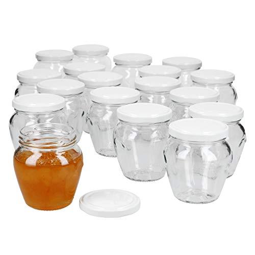 MamboCat - Set di 18 vasetti per marmellata, 212 ml, versatili e versatili, con coperchio fino a 63 cm, colore: Bianco