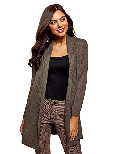 oodji Collection Women's No Closure Knit Cardigan, Brown, Medium