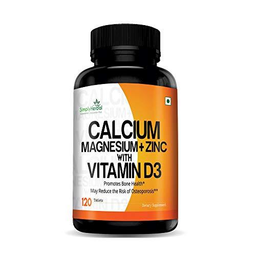 Simply Herbal Calcium, Magnesium, Zinc, D3 & B12 Tablets -...