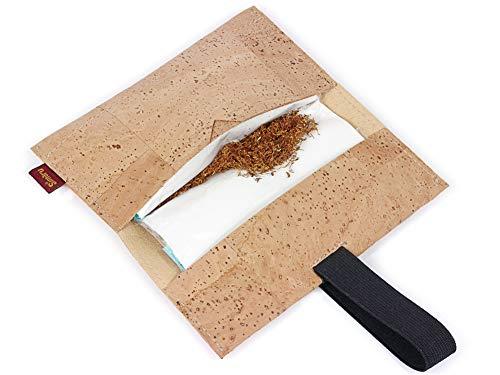 Bolsa para Tabaco Hecha de Corcho/Piel de Corcho Vegana - Funda, Estuche para Tabaco de Liar con Compartimento Adicional para mechero, filtros y Papeles by SIMARU (Beige)