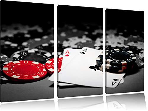 Spielkarten auf Pokertisch schwarz/weiß 3-Teiler Leinwandbild 120x80 Bild auf Leinwand, XXL riesige Bilder fertig gerahmt mit Keilrahmen, Kunstdruck auf Wandbild mit Rahmen, günstiger als Gemälde oder Ölbild, kein Poster oder Plakat