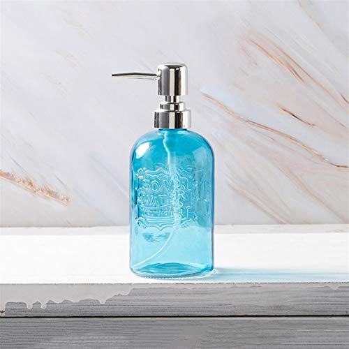 Zouzou Dispensador de jabón Dispensador de locería dispensadora de jabón de Vidrio de 13.5 oz con dispensador de jabón de plástico de Bomba de plástico Accesorios de baño dispensador de desinfectante