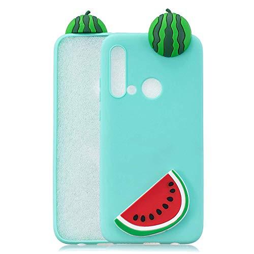 Funda para Huawei P20 lite (2019), HongYong 3D linda funda de silicona TPU ligera, delgada y flexible, colores caramelo antiarañazos, resistente al agua, funda protectora elástica – sandía