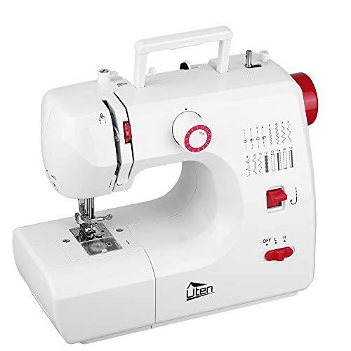 Máquina de coser portátil blanca y roja Uten