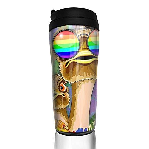 Kaffeebecher mit Deckel Strauß Hawaii Fashion Funny Dudes Travel Tumbler Vakuumisolierte Tasse Wasserflasche