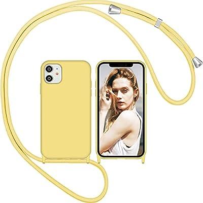 Nupcknn Funda de silicona líquida para iPhone 11, funda de silicona para el cuello (extraíble), funda con cordón para colgar, funda con banda (amarillo)