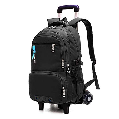 XWWS Solid Color Trolley Backpack - Waterproof School Bags, Removable Rolling Travelling Book Bag, Best Gift for Boys,Black,A