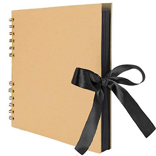 AIOR Album de Fotos Scrapbook Espiral, 80 Páginas Negras (40 Hojas), DIY Scrapbooking Album Original para Boda Aniversario de Boda de Oro Cumpleaños, Regalos Navidad para Mujer Niña (Amarillo)