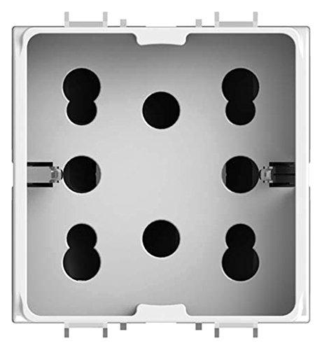 4Box 4B.G10.H21 Presa Multistandard 1 Schuko O 2 Bipasso Compatibile Con Gewiss Chorus, 250 V, Bianco