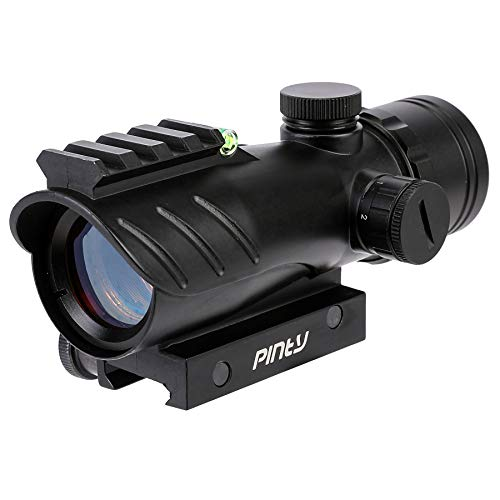 Pinty 1x30mm Red Dot Sight with Bubble Level, 5 Adjustable Brightness with Flip Up Lens Caps, Unlimited Eye-Relief