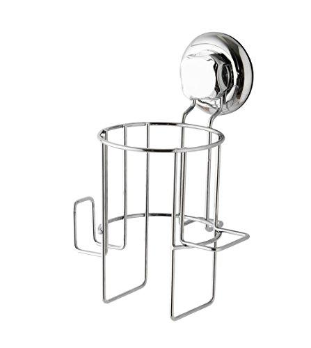 COMPACTOR Porta secador para el baño, Fijación por ventosas, Hasta 6 Kg, Acero cromado antioxidante, 15 x 13.6 x H.22.4 cm, RAN7801