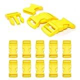 Cierre de clic de plástico en juego de 10 unidades, cierre de clip/cierre de clip para pulseras de paracord, collares de perros, mochila, color: amarillo