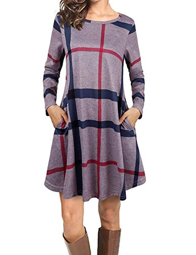 MIMIGOGO Women's Casual Striped Plaid Long Sleeve Loose Tunic Dress with Pockets (81% Off)