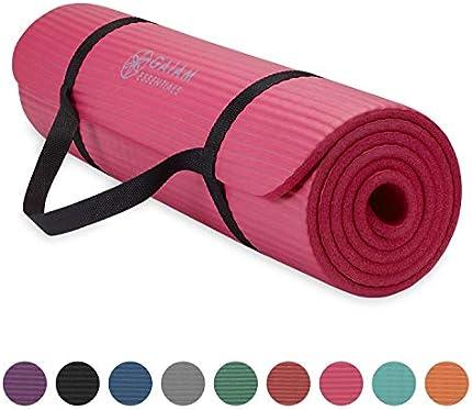 Gaiam Essentials - Esterilla de yoga gruesa para fitness y ejercicio con correa de transporte de yoga de fácil ajuste, rosa, 72 pulgadas de largo x 24 pulgadas de ancho x 2/5 pulgadas de grosor