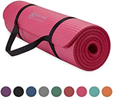 "Gaiam Essentials Thick Yoga Mat Fitness & Exercise Mat with Easy-Cinch Yoga Mat Carrier Strap, 72""L x 24""W x 2/5 Inch Thick"