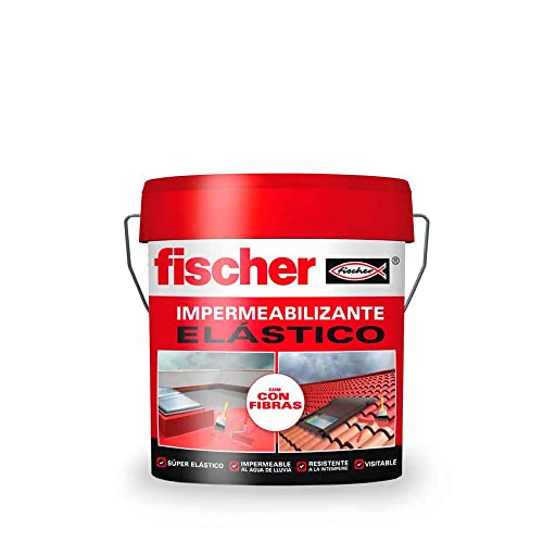 fischer - Pintura impermeabilizante (cubo 5kg) Rojo con fibras, resistente al agua y exteriores