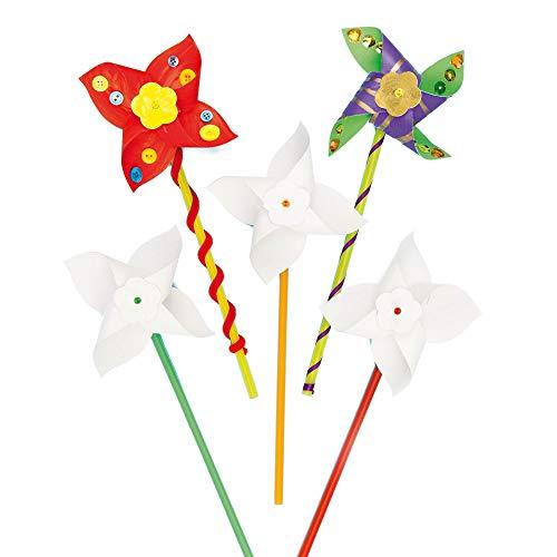 Baker Ross Bastelsets für Windrädchen für Kinder zum Selbergestalten (8 Stück)