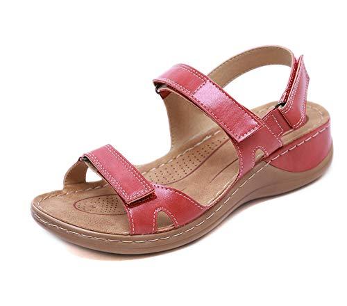 SHADIOA 2021 Sandalias de Mujer Zapatos Planos con Punta Abierta Sandalias de Fiesta de Oficina Vintage con Plataforma Informal para Mujer,C,41