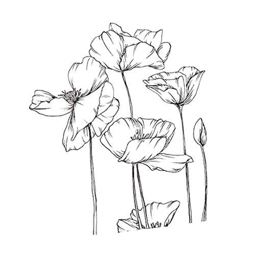Angelliu Tampon Clear,Silicone Timbre pour Scrapbooking Carterie Photo Album,Fleurs