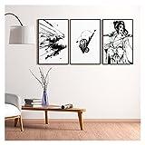 RHWXAX Minimalista Arte de la Pared Lona de Estilo Japón Pósteres Pinturas en Blanco y Negro para decoración de Interiores para la Sala de hogar 16x24inchx3 Sin Marco