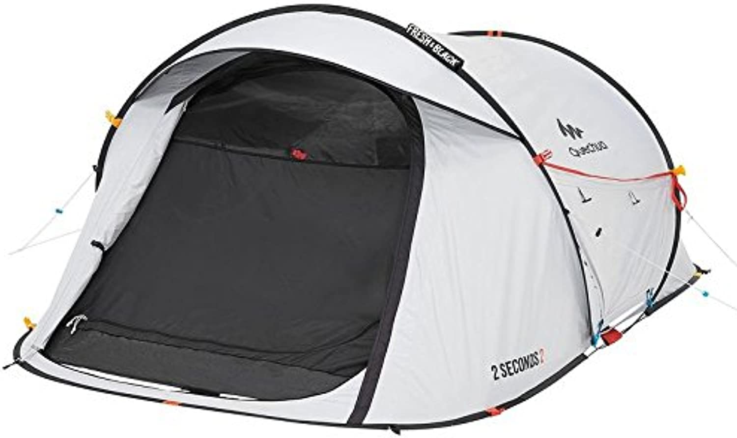 Quechua Waterproof Pop Up Camping Tent 2 Seconds Fresh & Black Easy Set Up and Fold  Extra Dark Interior