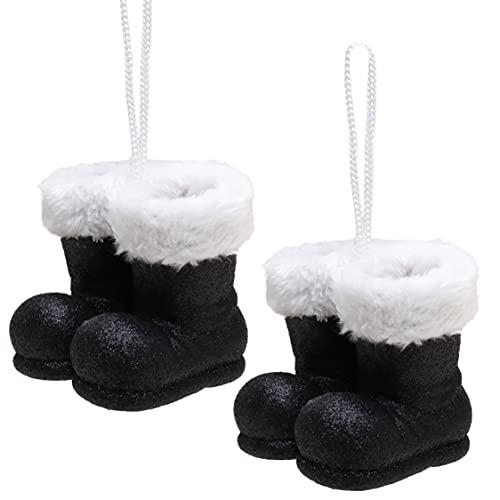 Christmas Concepts Confezione da 2–10 cm di stivali da Babbo Natale glitterati con bordo in pelliccia bianca – Bordi/Pallina per l'albero di Natale (Nero)