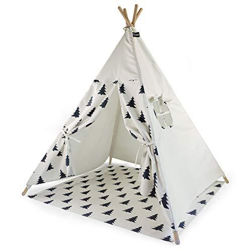 Hej Lønne Kinder Tipi, weißes Zelt mit Baum Muster, circa 120 x 120 x 150 cm groß, Spielzelt mit Bodendecke und Fenster, inkl. Beutel und Anleitung, für drinnen und draußen, schadstofffrei