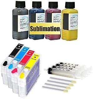 Hervulbare inktpatronen met auto-resetchips T1281-1284 + 4 x 100 ml sublimatieinkt