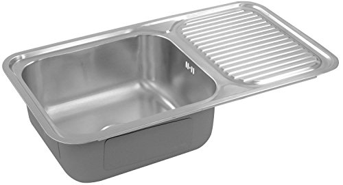 HAFELE Stainless Steel Single Bowl with Drain Board Sink (Silver, Satin Finish, 1-Piece)