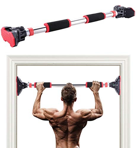 EAST MOUNT Pull Up Bar for Doorway, Home Gym Exercises Workout Fitness Chin Up Bar, No Screws Required Adjustable Dip Bars Up to 660 LBS.